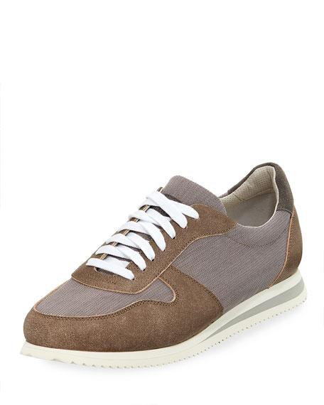 Suede-Trim Trainer Sneaker