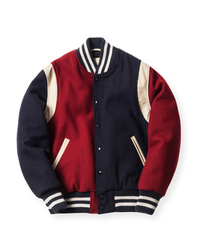 Varsity Jacket, Forest/Navy/Burgundy
