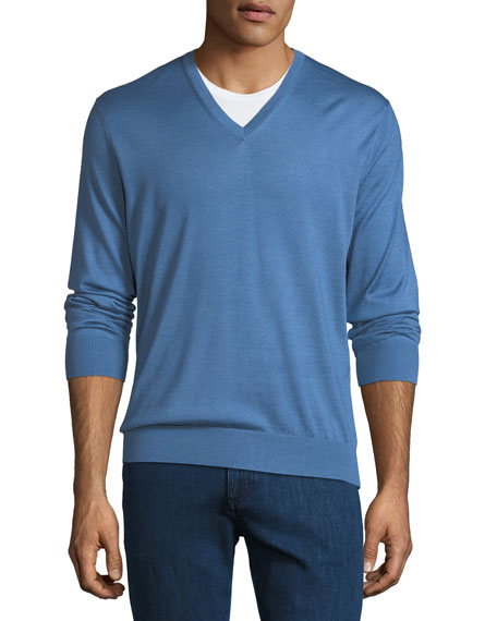 Image 1 of 1: V-Neck Cashmere-Silk Sweater