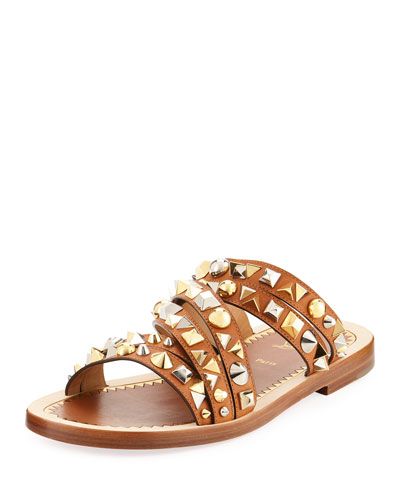Studded Strappy Leather Slide Sandal