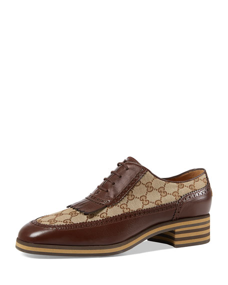 Gucci Leather and GG Brogue Shoe