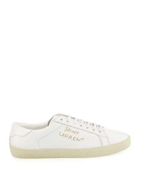 Men's Court Classic Logo-Stitching Leather Low-Top Sneakers