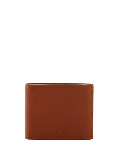 Smooth Calfskin Bi-Fold Wallet  Brown