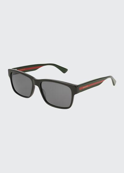 Square Acetate Sunglasses with Signature Web