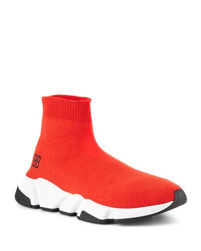 Speed Mid-Top Trainer Sock Sneaker, Red