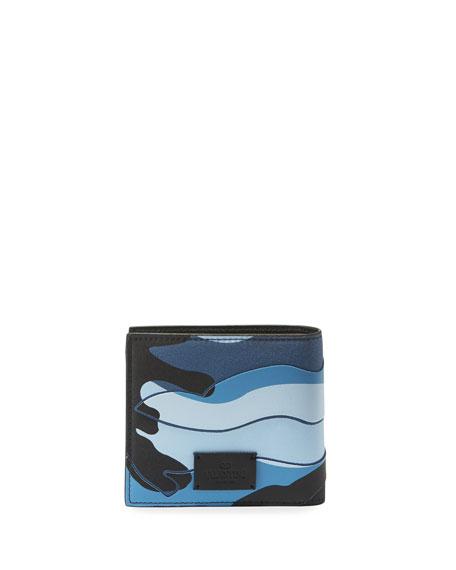Men's Camo-Print Leather Bifold Wallet