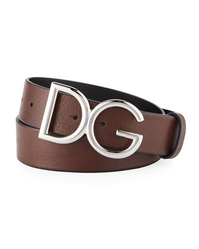Men's Leather Belt with Logo-Plate Buckle