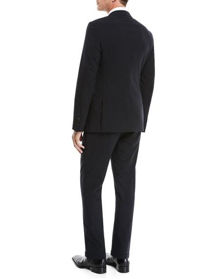 Men's Crepe Wool Two-Piece Suit, Navy