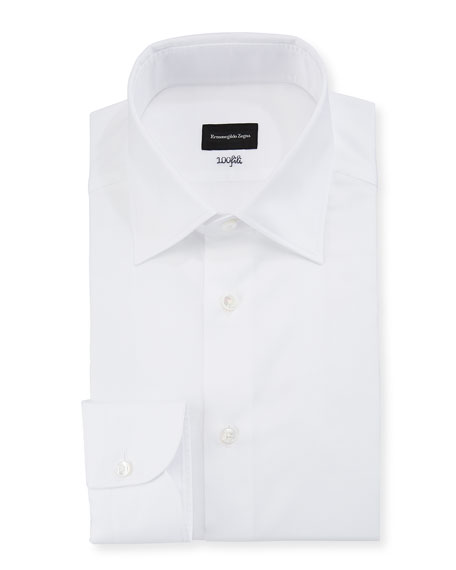 Image 1 of 1: Men's 100Fili Cento Solid Poplin Dress Shirt, White