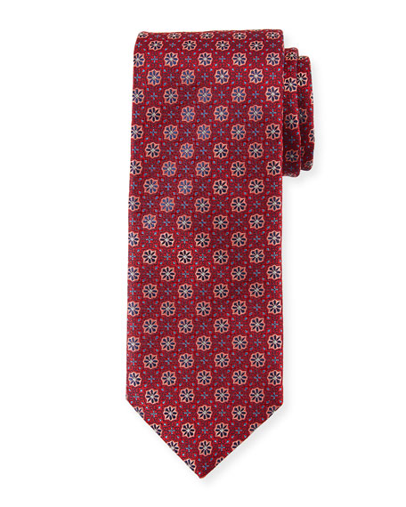Woven Flowers Silk Tie, Red