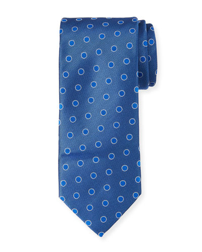 Textured Dot Silk Tie  Blue