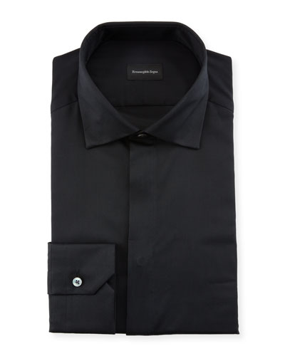 Men's Hidden-Button Covered Placket Formal Shirt