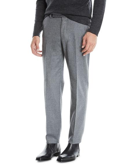 Men's Melange Wool Straight-Leg Pants, Gray
