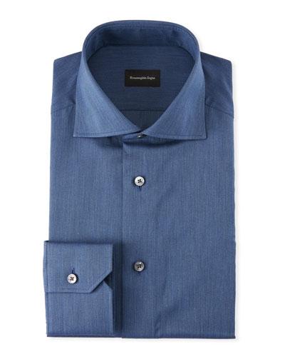 Men's Solid Twill Dress Shirt  Dark Blue