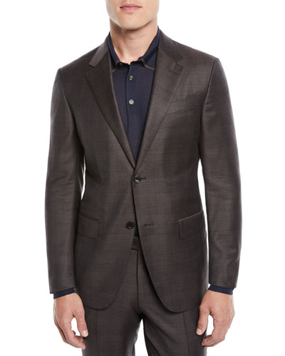 Men's Check Wool Two-Piece Suit