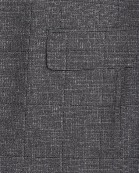 Men's Graph Windowpane Two-Piece Wool Suit