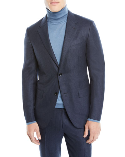 Men's Notched-Collar Two-Piece Pinstripe Wool Suit