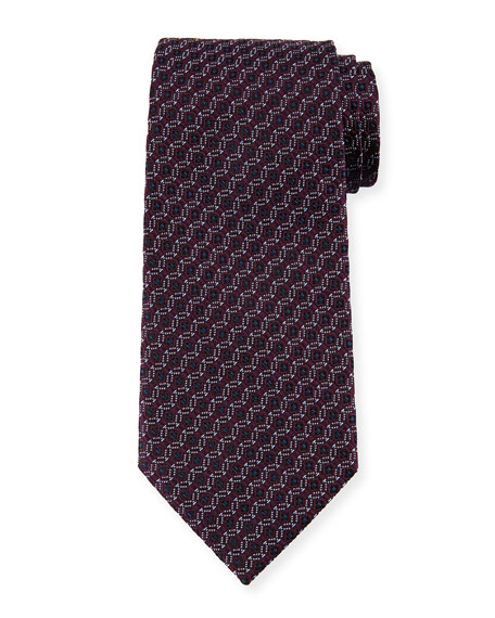 Image 1 of 1: Box-in-Circle Silk Tie, Purple