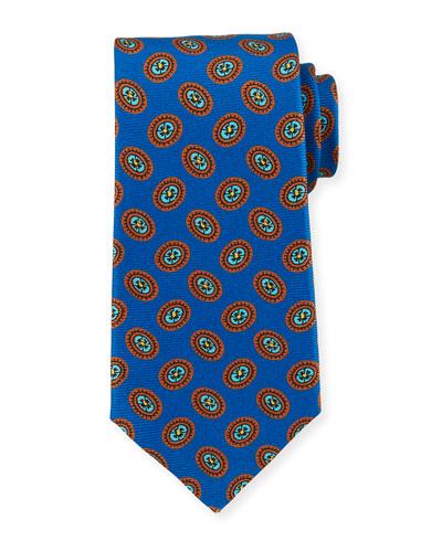 Fancy Ovals Silk Tie  Royal