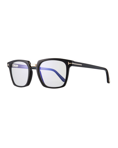 Men's Square Acetate & Metal Glasses  Black