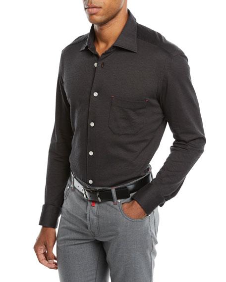 Men's Knit Long-Sleeve Sport Shirt