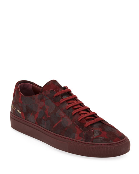 Common Projects Men's Achilles Camo Suede Low-Top Sneakers,