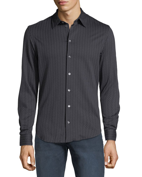 Men's Chevron-Print Sport Shirt