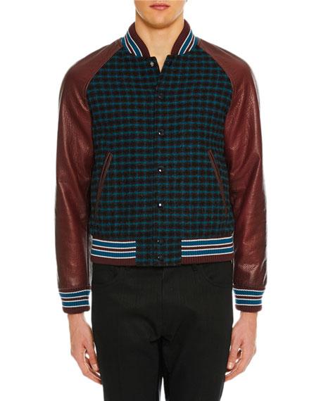 Men's Leather-Trim Grid-Pattern Bomber Jacket