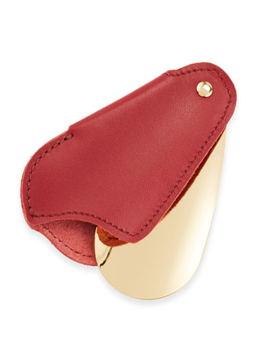 Golden Travel Shoe Horn with Leather Case  Red