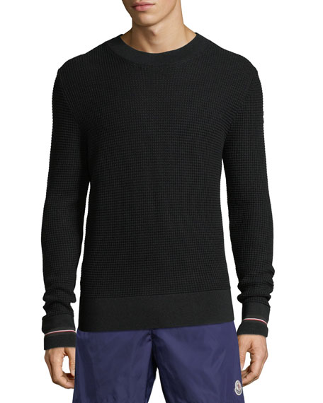Image 1 of 1: Men's Waffle-Knit Crewneck Pullover Sweater