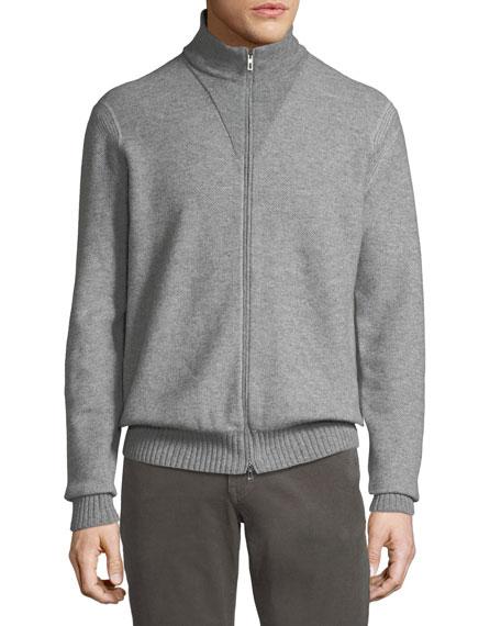 Men's Fur-Trim Cashmere Bomber Cardigan Sweater