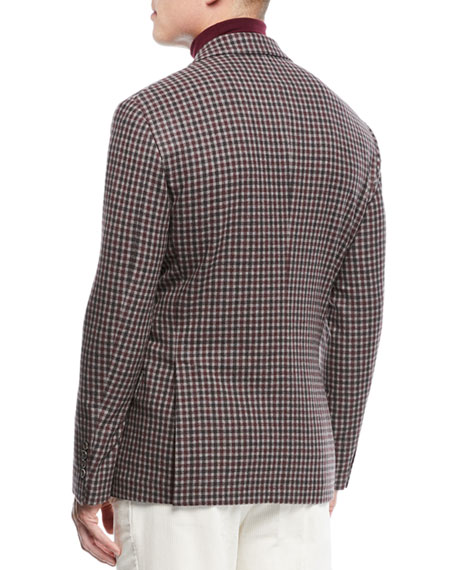 Men's Check Wool Three-Button Sport Coat Jacket