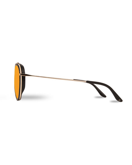 Men's Edge Round Stainless Steel/Acetate Sunglasses