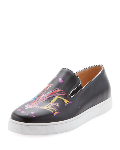 Men's Love Graphic Leather Slip-On Sneakers