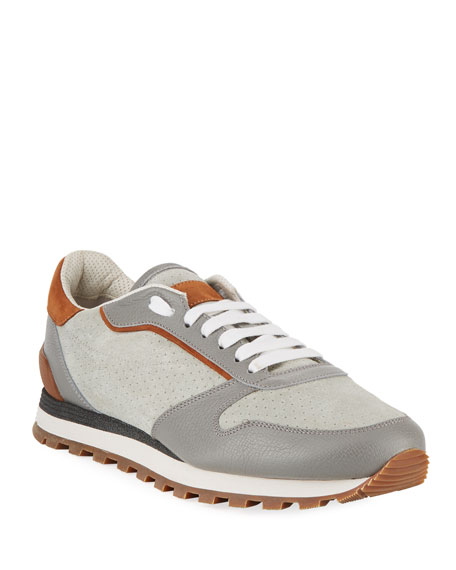 Brunello Cucinelli Men's Suede & Leather Trainer Sneaker
