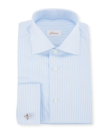 Men's Tonal-Stripe French-Cuff Dress Shirt