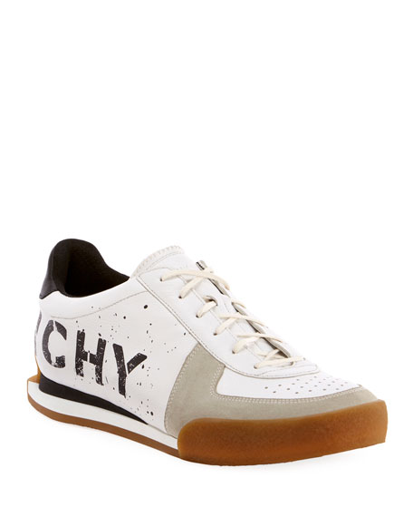 Men's Set 3 Logo-Print Leather Tennis Sneakers
