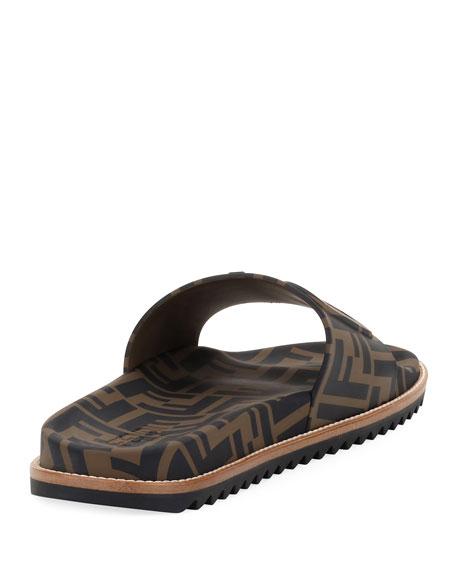 c6617260dc36 Fendi Men s Rubber Pool Slide Sandals w  Raised Logo Detail