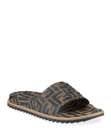 Fendi Men's Rubber Pool Slide Sandals w/ Raised
