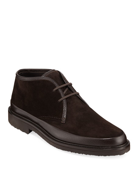 Men's Trivero Leather-Trimmed Suede Chukka Boots