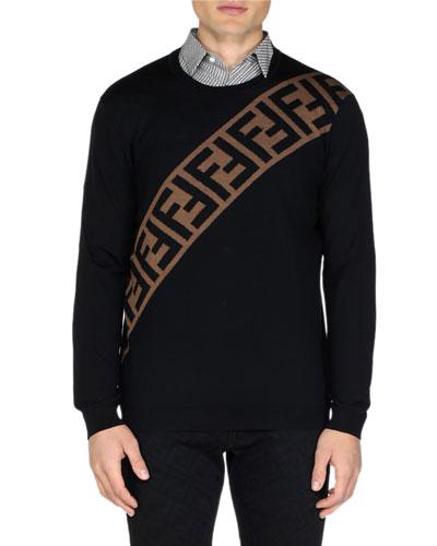 Men's Diagonal-Logo Wool Pullover Sweater