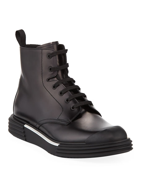 Prada Men's Lace-Up Sneaker Boots