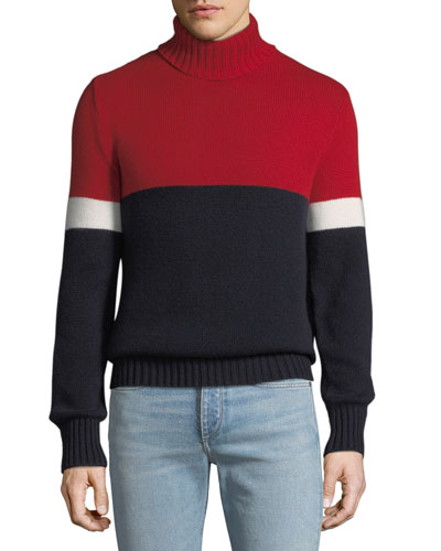 Men's Cashmere Colorblock Turtleneck Sweater