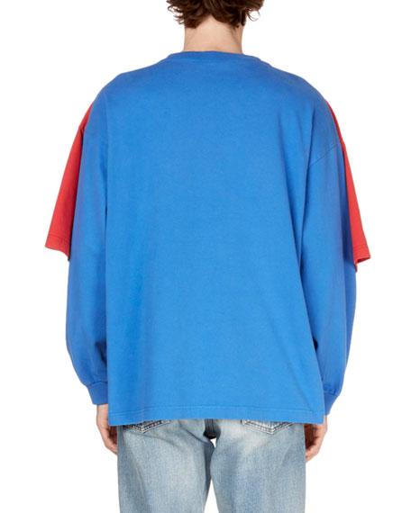 LS BLUE W SS RED DBL T