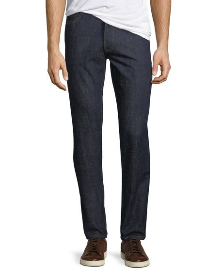 Image 1 of 1: Men's Dark-Wash Stretch-Denim Jeans, Navy