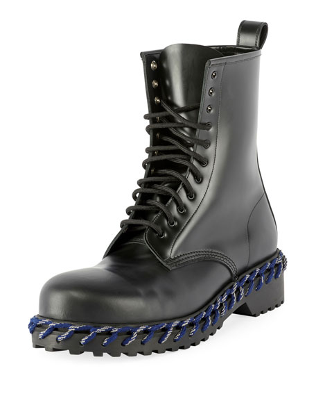 Men's Combat Boot with Woven Lace Detail