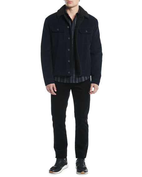 Men's Striped Flannel Button-Down Shirt