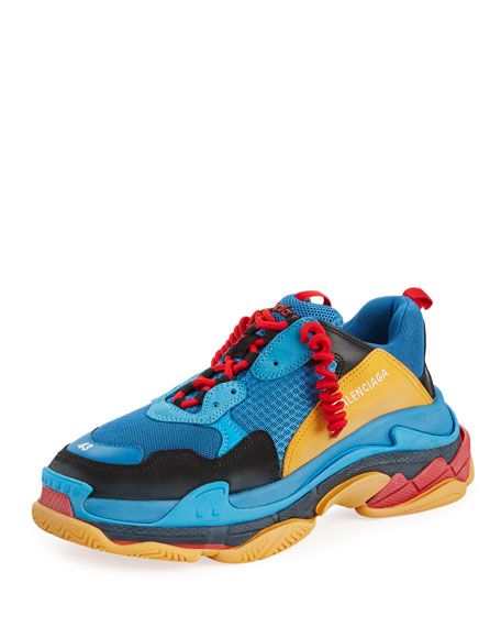 Men's Triple S Mesh & Leather Sneakers, Blue/Orange