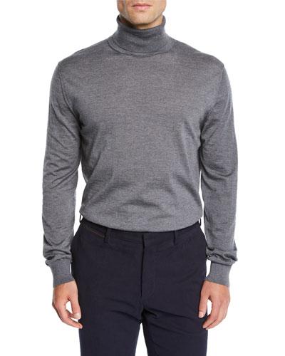 Men's Heathered Wool Turtleneck Sweater