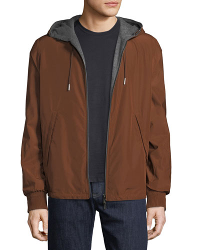 Men's Reversible Blouson Jacket with Hoodie